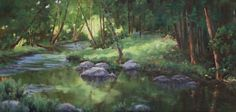 """One of the most important elements in painting design is the line used my the artist. A Zigzag line in the composition as seen in """"Stream in Woods"""" brings excitement and movement to the landscape. This painting, 12x24, by NOAPS artist Nancy Whitaker from Kansas will hang at the @Addison Art Gallery for the opening of the Best of America Exhibit 2016 next Saturday September 3"""