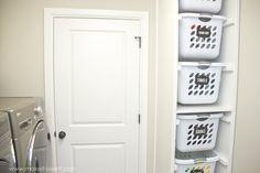 28 Laundry Room Makeover Home Decorating Inspiration Laundry Basket Holder, Laundry Basket Organization, Laundry Storage, Storage Baskets, Storage Racks, Household Organization, Basement Storage, Laundry Hamper, Bedroom Storage