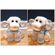 Blue monkey diaper cake animal for boy baby shower. Unlike some diaper animals, all diapers, washcloths and socks are 100% useable upon disassembly! Tutorials coming soon. Follow this board for updates. Like my page on Facebook if you like my diaper animal designs. www.facebook.com/vivadiapercakes