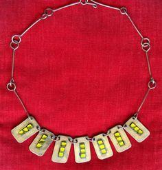Collier ras du cou émaux verts rectangles métal argenté chaîne vintage  necklace 900007a9cc5