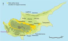 Copper sources and location of Chalcolithic and Bronze age sites in Cyprus
