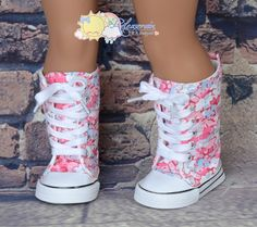 """White/Pale Blue Shadow Flowers on Pink Lace-Up Knee High Top Sneakers Boots Doll Shoes for 18"""" American Girl dolls"""