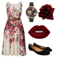 Floral - Red by chameleonofdoom on Polyvore featuring polyvore, fashion, style, Phase Eight, CÉLINE, Olivia Burton, Lime Crime, clothing, red and CasualChic