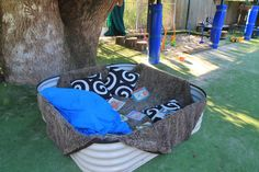 Could use summer plastic pools We create cosy places to be outside too. Outdoor Education, Outdoor Learning, Outdoor Activities, Natural Playground, Outdoor Playground, Outdoor Classroom, Outdoor School, Outdoor Play Spaces, Outdoor Fun