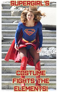 Melissa Benoist Suffers A Supergirl Costume Malfunction Fighting The Elements The Crime-Fighting Star Battled The Wind Filming The Season 3 Finale in Vancouver, Canada #Supergirl #Season3 #WardrobeMalfunction #Oops