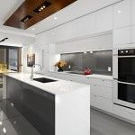 kitchen island with cooktop in Kitchen Contemporary with Bosch backsplash