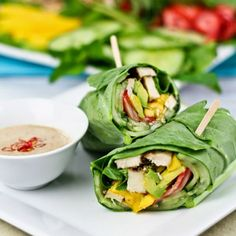 These collard wraps are filled with nothing but delicious and nutritious ingredients that'll do your body good. Try them with the Satay Style Dipping Sauce. Clean Recipes, Lunch Recipes, Paleo Recipes, Whole Food Recipes, Cooking Recipes, Clean Foods, Paleo Food, Sauce Recipes, Paleo Diet