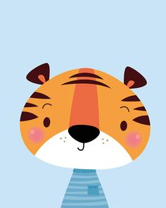 This cute little tiger is sure to make the perfect addition to any nursery or playroom! Perfect for a modern, simple theme. It makes a lovely new baby gift :) This Fine Art giclée archival nursery print is my original illustration and is signed on the reverse. Printed to order using