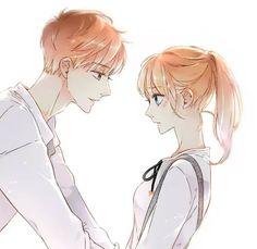 Love like cherry blossoms- Xia Yi and Lu Lu Manga Couple, Anime Love Couple, Cute Anime Couples, Kawaii Cute, Kawaii Anime, Manga Art, Manga Anime, Anime Siblings, Friend Anime
