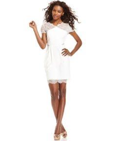for wedding in Key West  BCBGMAXAZRIA Dress, Short-Sleeve Lace Ponte Sheath - Womens Dresses - Macy's