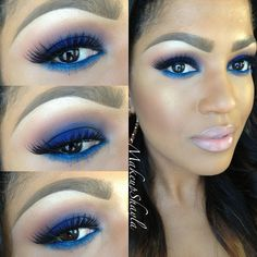 """#ShareIG Blue smoke Mac saddle, brown script, contrast in the crease. Nars Outremer on the lid. Nars abbey road blue eyeliner in waterline/bottom eyeliner. Nars albatross highlight. @anastasiabeverlyhills electric blue mascara and brow wiz. @doseofcolors """"show stopper"""" lashes. Mac studio fix fluid. Mac Blunt contour. Lips: mac hodgepodge lipliner, velvet teddy lip stick, bountiful lip gloss. #doseofcolors #anastasiabeverlyhills #mua #beat #cakeface"""