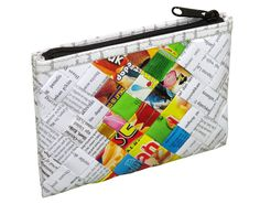 This small wristlet is made using candy wrappers at the center part of the purse, and office document paper at its sides. Folded into strips, laminated and woven tightly. It has a YKK zip top closure and a detachable wrist strap made of vinyl. Polyester fabric is used for lining. Dimensions in inches: 7 long, 5 high, 1 thick (When stuffed can reach 2.5 thickness) Dimensions in centimeters: 17.5 cm long, 11.5 cm high, 3 cm thick (When stuffed can reach 6.5 cm) Weight: 2.1 ounce (60 grams) ...