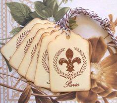 Tags Vintage Style Paris Fleur de lis Wedding Wish by bljgraves, $4.00