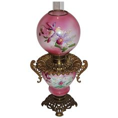 """RAREST OF THE RARE """"The Daughter's Room"""" Gone with the Wind Oil Lamp ~Hand Painted Masterpiece~ Breathtaking BEAUTY WITH HAND PAINTED ROSES ~ Outstanding Fancy Ornate Font Spill Ring and Base~ Original Parts"""