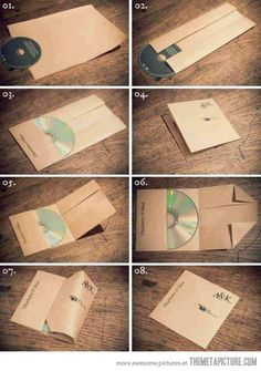 case CD with single sheet of paper...this could be cute for my studio! - this is so neat! perfect for the roomie love cds :)