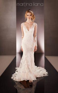Martina Liana 675 #sleeves #weddingdress #lace #backless #lowback #backdetail #martinaliana #bridalhaven