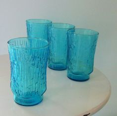 vintage textured turquoise juice glasses (set of 4) on Etsy