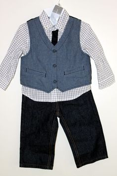 Boys 3 Pc First Impression​s Shirt Vest Nautica Jeans 2T 24 Mos Set Brand NEW #NauticaandFirstImpressions #DressyEverydayHoliday