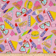 Alexander Henry Boardwalk Bliss Pink from @fabricdotcom  Designed by De Leon Design Group for Alexander Henry, this cotton print fabric features colorful fair food, retro shades and the perfect shades of lipstick. Perfect for quilting, apparel and home decor accents. Colors include yellow, purple, lavender, black, green, pale yellow, red, coral, peach and shades of pink and blue.