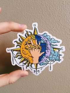 SUN & MOON Sticker is part of Sun tattoos - Sun & Moon 3 x 3 glossy coated vinyl sticker Scratch and weather resistant Kunst Tattoos, Tattoo Drawings, Art Drawings, Art Soleil, Watercolor Tatto, Sun Drawing, Drawing Tips, Art Hippie, Tattoo Sonne