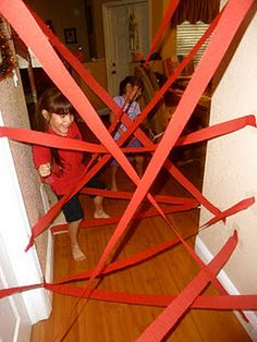 hallway spiderweb-cute to have up when kids wake up on Valentine's day or for birthday party fun