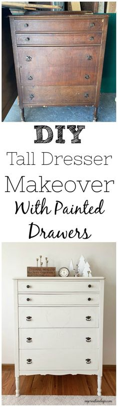 This DIY Tall Dresser Makeover was an easy way to transform an old dresser with a little TLC and paint on the outside and inside the drawers. #diydresser #diyfurniture #upcycle #dresser #dressermakeover #paintedfurniture