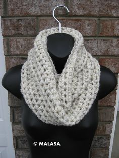 Neckwarmer Infinity Scarf in WHEAT - Crocheted Cowl Circle warmer wrap Chunky. $44.00, via Etsy.