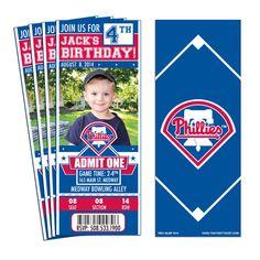 12 Philadelphia Phillies Birthday Party Ticket Invitations by ThatsMyTicket on Etsy https://www.etsy.com/listing/205674098/12-philadelphia-phillies-birthday-party