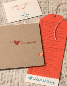 Love the itenerary with the twine as a price menu idea or gift card idea