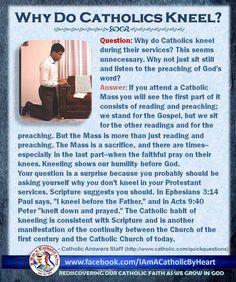 Nos arrodillamos como un hermoso signo de humildad en la Santa Misa y para Orar ante la majestad de Dios <3