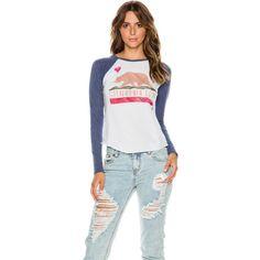 Billabong Cali Love Baseball Raglan ($30) ❤ liked on Polyvore featuring tops, t-shirts, blue, raglan baseball tee, baseball t shirt, raglan tee, cotton t shirt and raglan t shirt