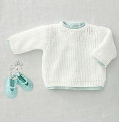 Breipatroon babytruitje in parelboordsteek, van Phildar detente babypullover Easy Knitting, Knitting For Kids, Baby Knitting Patterns, Knitting Yarn, Knitting Ideas, Newborn Crochet, Crochet Baby, Knit Crochet, Baby Pullover