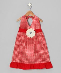 Take a look at this Red & Ivory Daisy Halter Dress - Toddler & Girls by Bubblegum Diva on #zulily today!