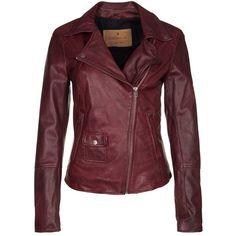 Goosecraft BIKER Leather jacket oxblood (275 CAD) ❤ liked on Polyvore featuring outerwear, jackets, leather jackets, coats, bordeaux, pocket jacket, genuine leather jacket, red zipper jacket, 100 leather jacket and red jacket