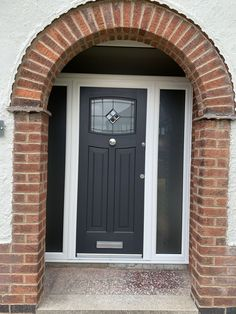 Rockdoor Newark Bright Star in Anthracite Grey and Satin/Misted side panels fitted in Nottingham Composite Front Doors Uk, Grey Front Doors, Beautiful Front Doors, Front Doors With Windows, Double Front Doors, Exterior Front Doors, Front Door Canopy, Front Door Entrance, Glass Front Door