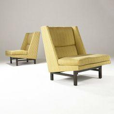 Edward Wormley; Walnut Lounge Chairs for Dunbar, 1950s.
