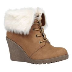 """<p>A faux-fur cuff lends a cozy-chic vibe to our trend-worthy wedge booties by Call It Spring.</p><div style=""""page-break-after: always"""