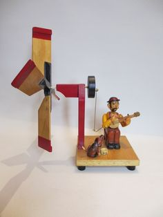 Banjo player whirligig automata
