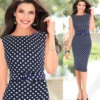 Top Quality !! 2014 Women Summer Dress Polka Dot Sleeveless Slim Tunic Pencil Bodycon Dress Office Dress #3 SV003000