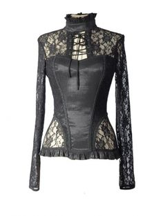 Black Lace Long Sleeve Top with High Neck Collar <3