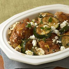 Roasted Chicken Thighs with Zucchini and Feta