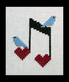 Music Cross Stitch Pattern Happy Little by BlueTopazStitchery
