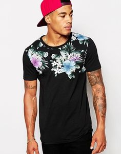 ASOS Muscle Fit T-Shirt With Floral Print Yoke And Stretch