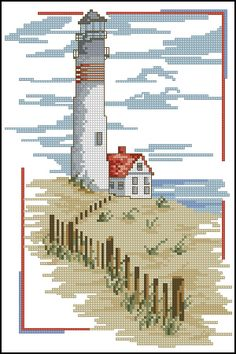 Cross Stitch Sea, Cross Stitch House, Cross Stitch Needles, Cross Stitch Charts, Funny Cross Stitch Patterns, Cross Stitch Designs, Hand Embroidery Stitches, Cross Stitch Embroidery, Cross Stitch Landscape