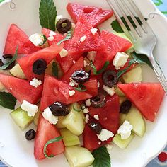 Chilled Watermelon Cucumber Feta looks fantastic for summee