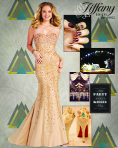 Tiffany 16022 makes the perfect match for a Great Gatsby inspired prom theme ... available in Gold Multi or Purple this strapless gown has a sweetheart neckline and is embellished with heavy rhinestones, sequins, and bugle beads throughout.