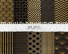 Art Deco Digital Paper Black and Gold by OriginsDigitalCurio