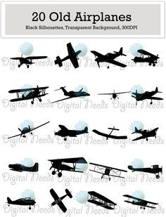 20 Old Airplane Silhouettes Clip Art / png and SOURCE files / Airplanes Silhouettes / INSTANT DOWNLOAD by DigitalNeeds on Etsy https://www.etsy.com/listing/216856539/20-old-airplane-silhouettes-clip-art-png