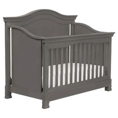 Dark Gray Vintage Style Baby Classic Louis 4-in-1 Convertible Crib with Toddler Rail