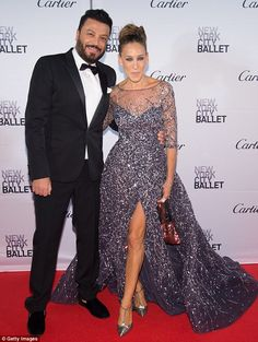 His muse: Sarah posed alongside the designer Zuhair Murad looking happy with her choice of outfit for the evening